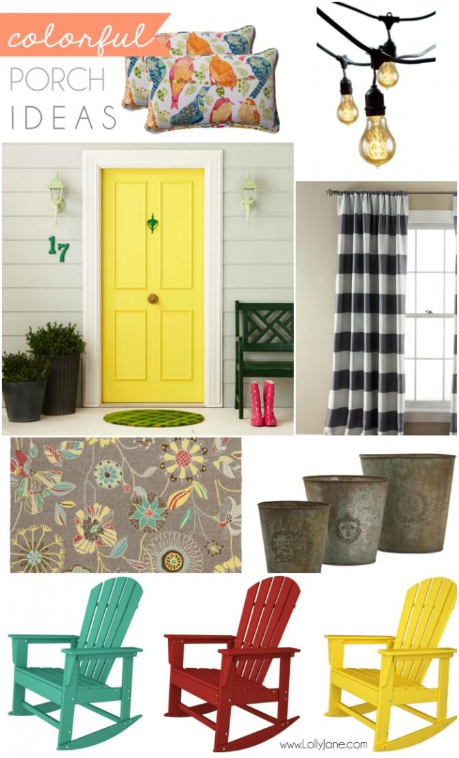 Colorful porch ideas mood board PLUS...bloggers, win $1200! Maker Mood Board Contest with Porch & ATGStores.com