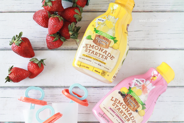Strawberry Lemonade Popsicles. Perfect for warm sunny days and a yummy kids treat!