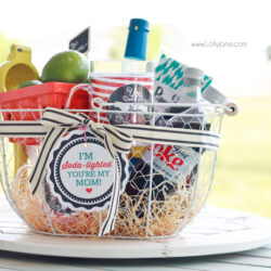 "Mothers Day ""Soda-lighted"" basket with free tag!"