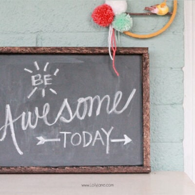 DIY vinyl chalkboard framed sign
