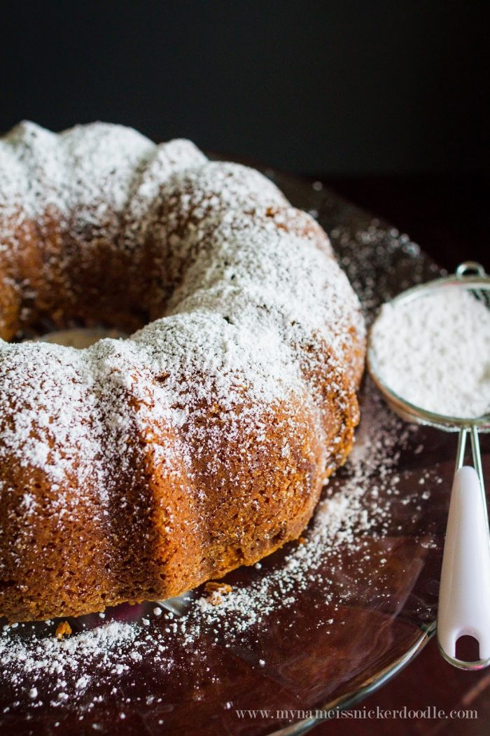 This cinnamon sour cream bundt cake recipe is so good and flavorful! A great recipe for entertaining or enjoying with a cold glass of milk!