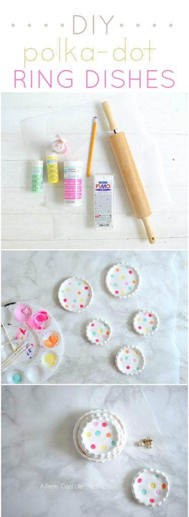 DIY Polka-Dot Ring Dishes |APrettyCoolLife.com