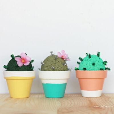 DIY foam cactus garden