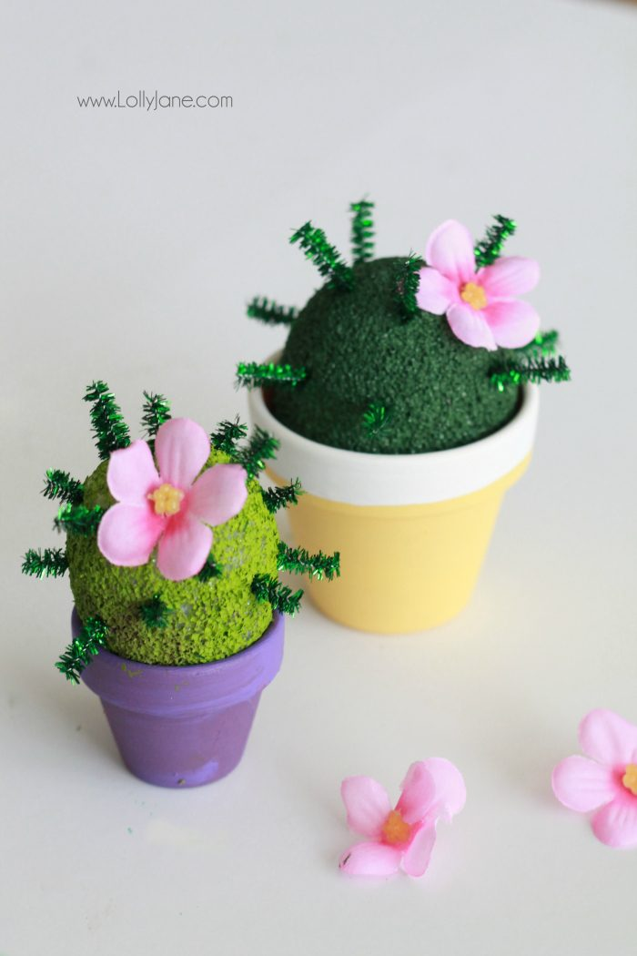 How to make a foam cactus garden with foam and pipe cleaners. So cute and lots of fun for kids! A great way to keep kids busy this summer! A fun kids craft idea! Love little mini succulents crafts!