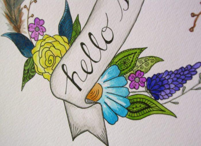 Watercolor DIY with Zentangle Flair + FREE Print |via Simple Acres Blog