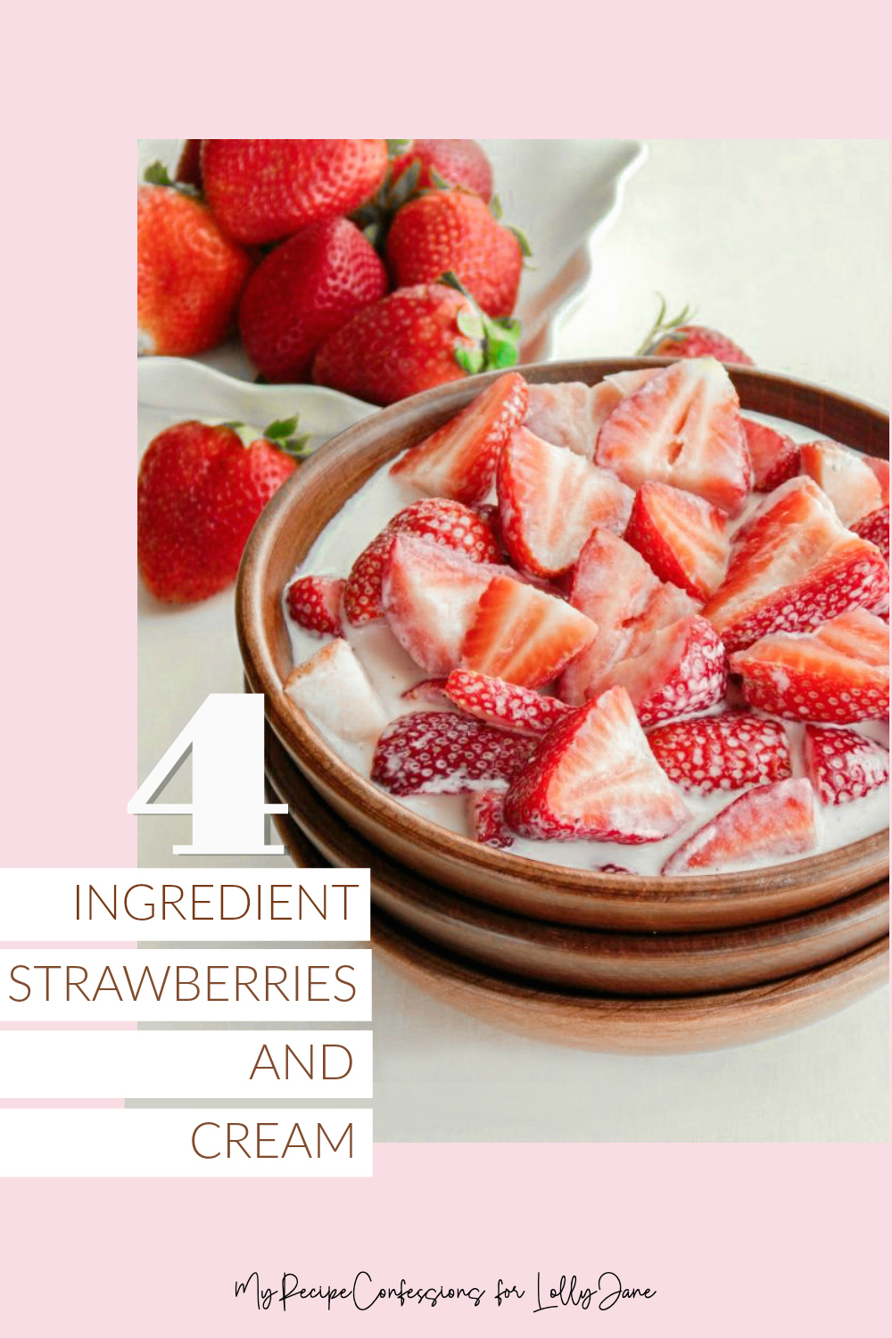 EASY 4-Ingredient Strawberries and Cream Recipe. Mmm! Great for a side, meal, or for a sweet treat! #brunch #easyrecipe #recipe #food #strawberriesandcream #strawberriesandcreamrecipe #breakfast #breakfastrecipe