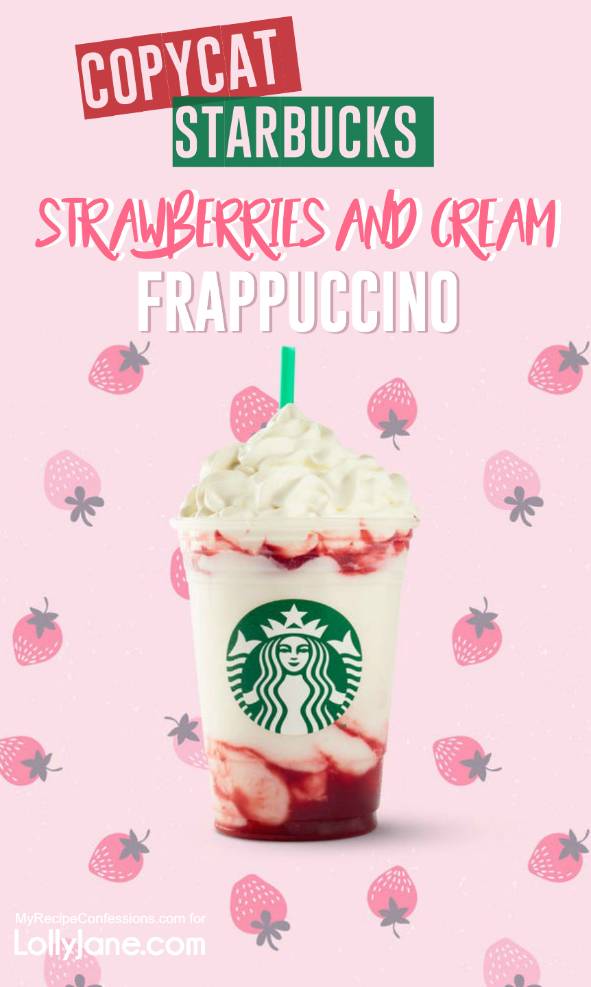 EASY 5-Ingredient Copycat Starbucks Strawberries and Cream Frappuccino recipe, just blend and top with whipped cream. YUM and SO refreshing! #starbucks #copycatstarbucks #starbucksdupe #starbucksrecipe #strawberriesandcream #strawberriesandcreamfrrappuccino #frappuccino #starbucksfrappuccino #summertreat
