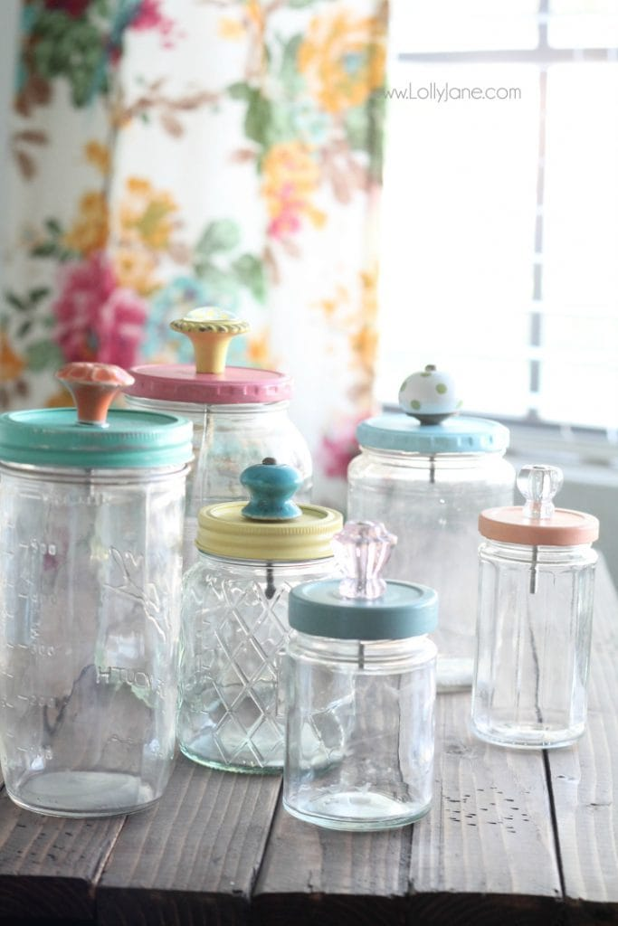 upcycled mason jar with pretty glass knob tops