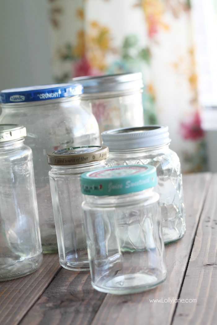 add pretty knobs to the tops of mason jars for pretty mason jar storage solutions