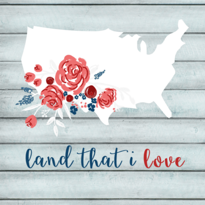 printable floral USA art
