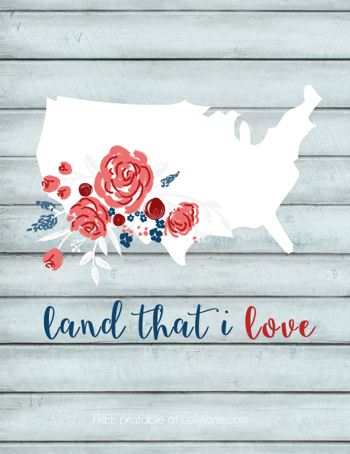 FREE Printable floral USA art |via lollyjane.com