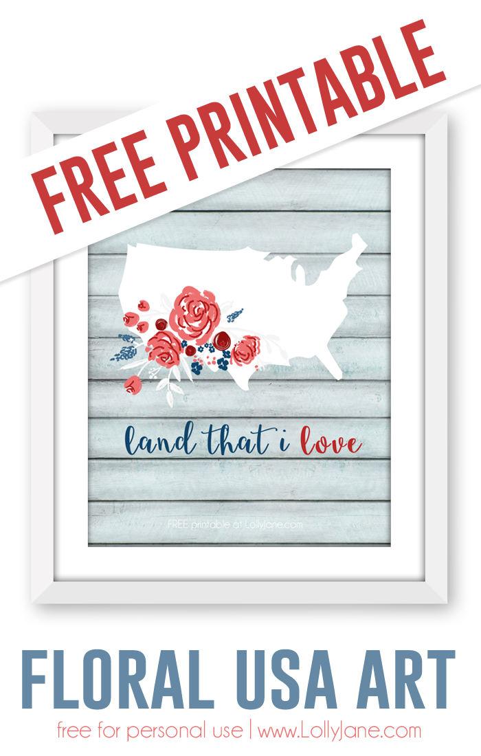 FREE Printable floral USA art |via lollyjane.com
