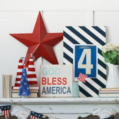 DIY 4th of July mantel