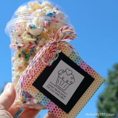 white chocolate sprinkles popcorn dessert