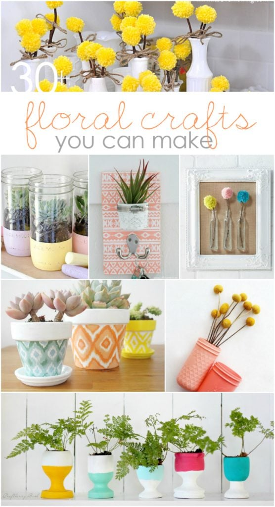 30+ DIY floral home decor ideas. The ultimate roundup of floral crafts you can make! Easy floral home decor ideas, fun craft home decor ideas!