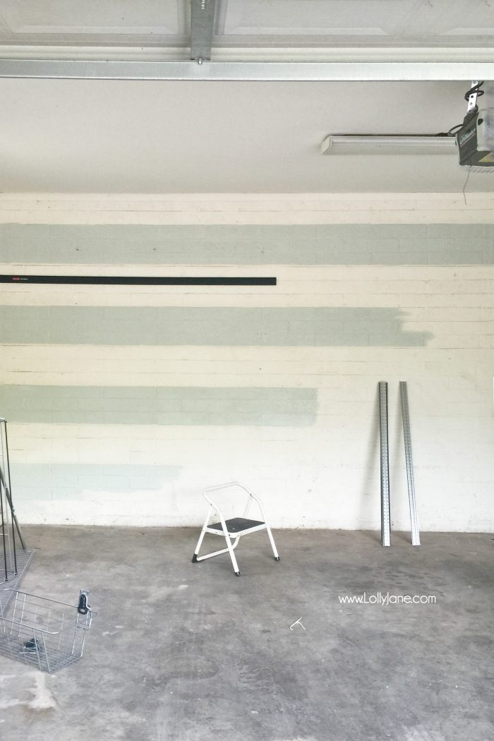 Garage Organization Makeover with Painted Striped Walls