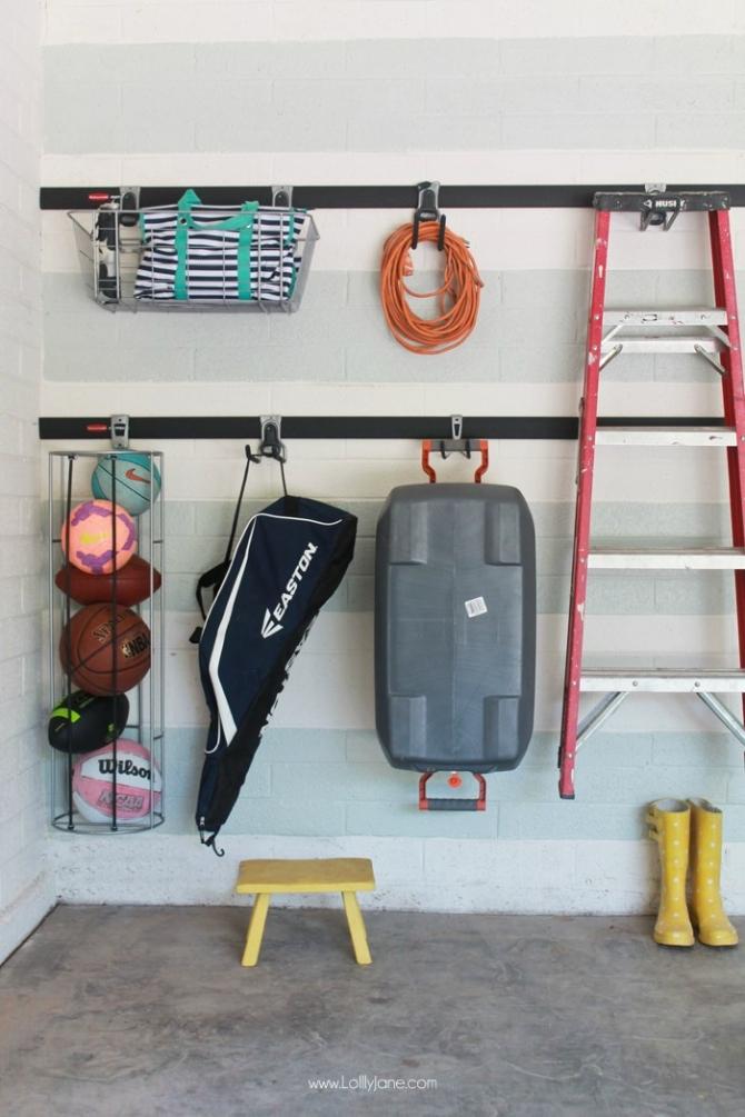Garage organization solutions! Love the Rubbermaid FastTrack! Screw, attach, lock! Attractive garage organization ideas!