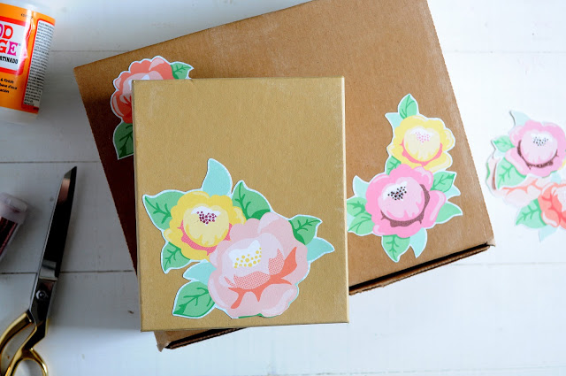 Easy decoupage floral gift box idea, easy handmade gift idea to personalize gifts!