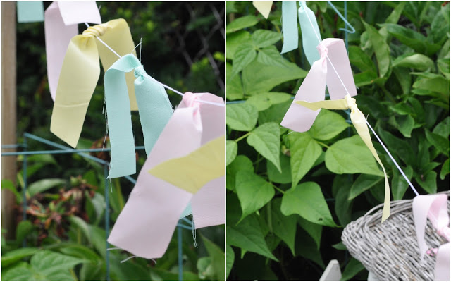 Love this easy fabric garland using fabric scraps and twine. Easy home decor idea, cute kids craft!