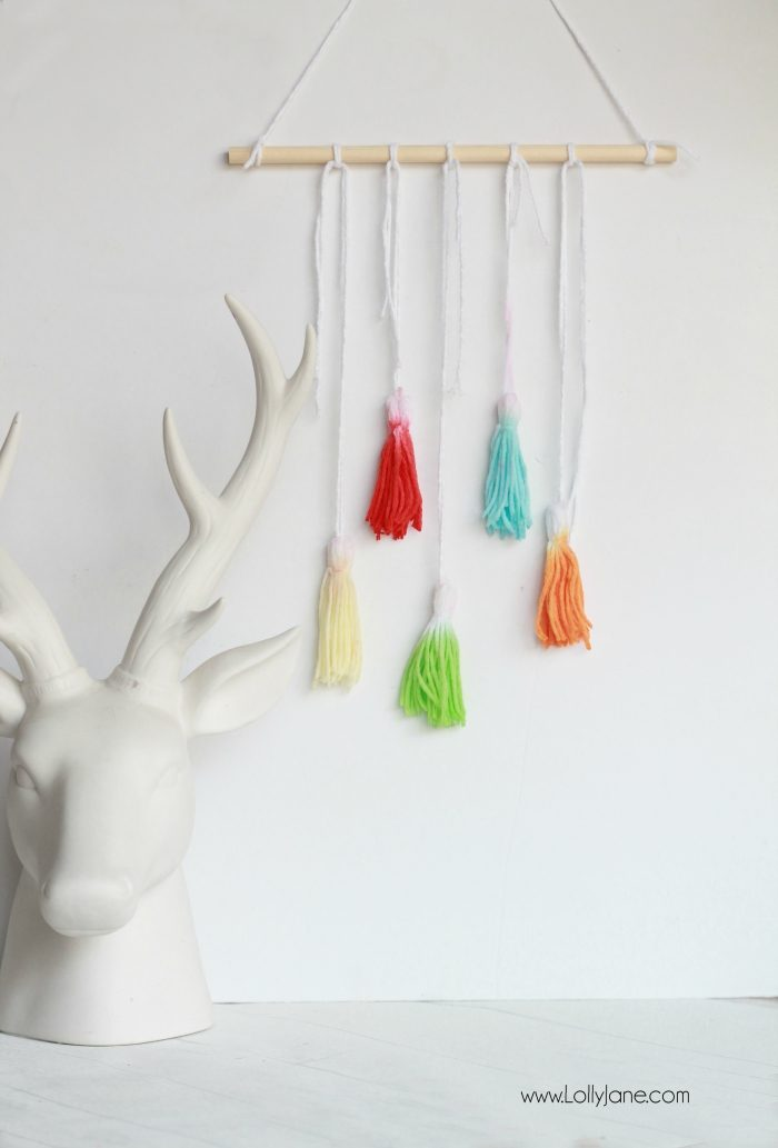 Check out this fun DIY Kool Aid Dip Dye Tassel Wall Hanging, cute backdrop idea, adorable home decor or fun craft idea!