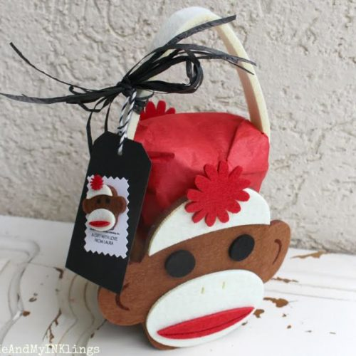 Love this sock monkey gift wrap idea for a birthday or just because gift!