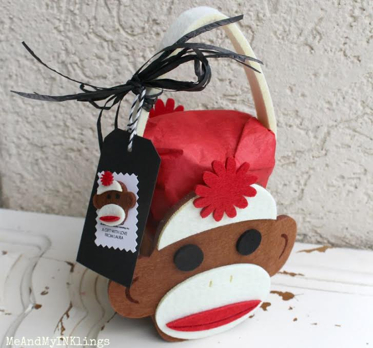 sock monkey gift wrap idea