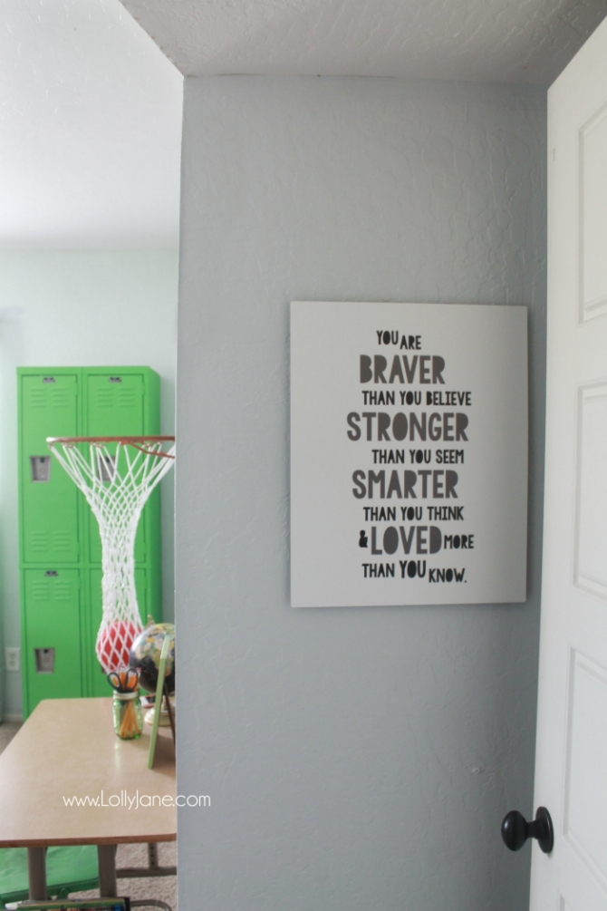 Vintage Industrial Boys Bedroom. Lots of wood tones, grays and neutrals for a vintage industrial boys room. Cute decor ideas and tips to keep it neat. Fun accessories like a basketball hoop and green lockers to complete the space.