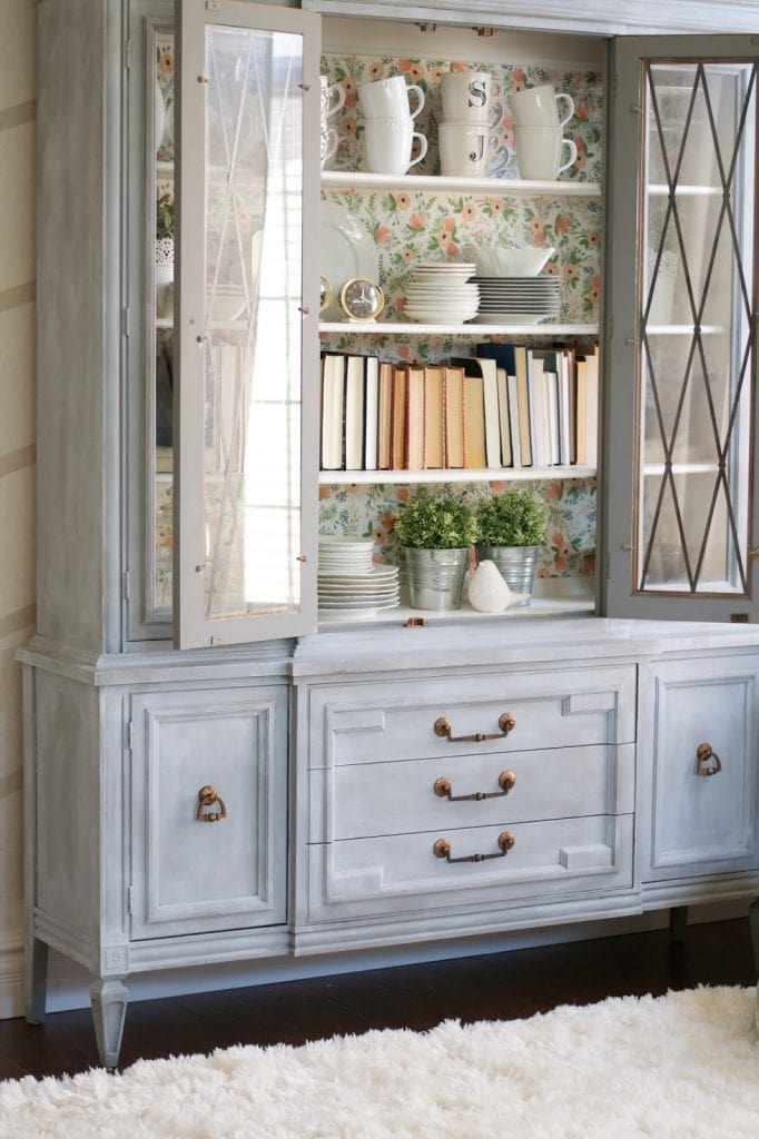 chalk paint powder hutch makeover