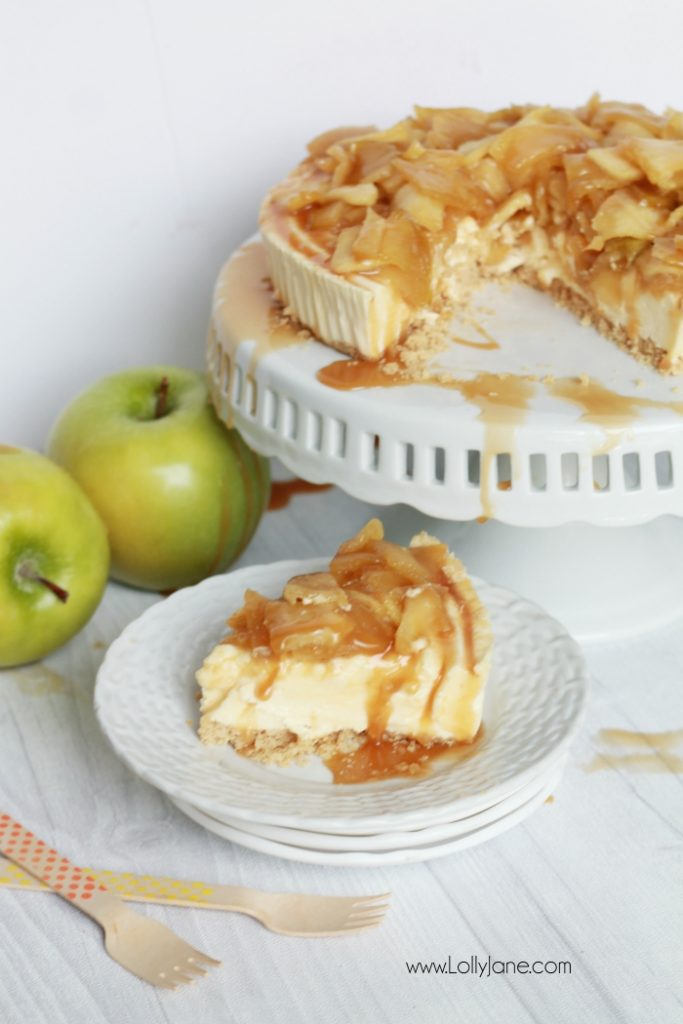 Easy caramel apple cheesecake recipe! So easy using a cheesecake base, this caramel apple cheesecake topping is a quick to make and is the perfect addition to your favorite cheesecake base! Yummy fall dessert, easy Thanksgiving recipe, great fall recipe idea!