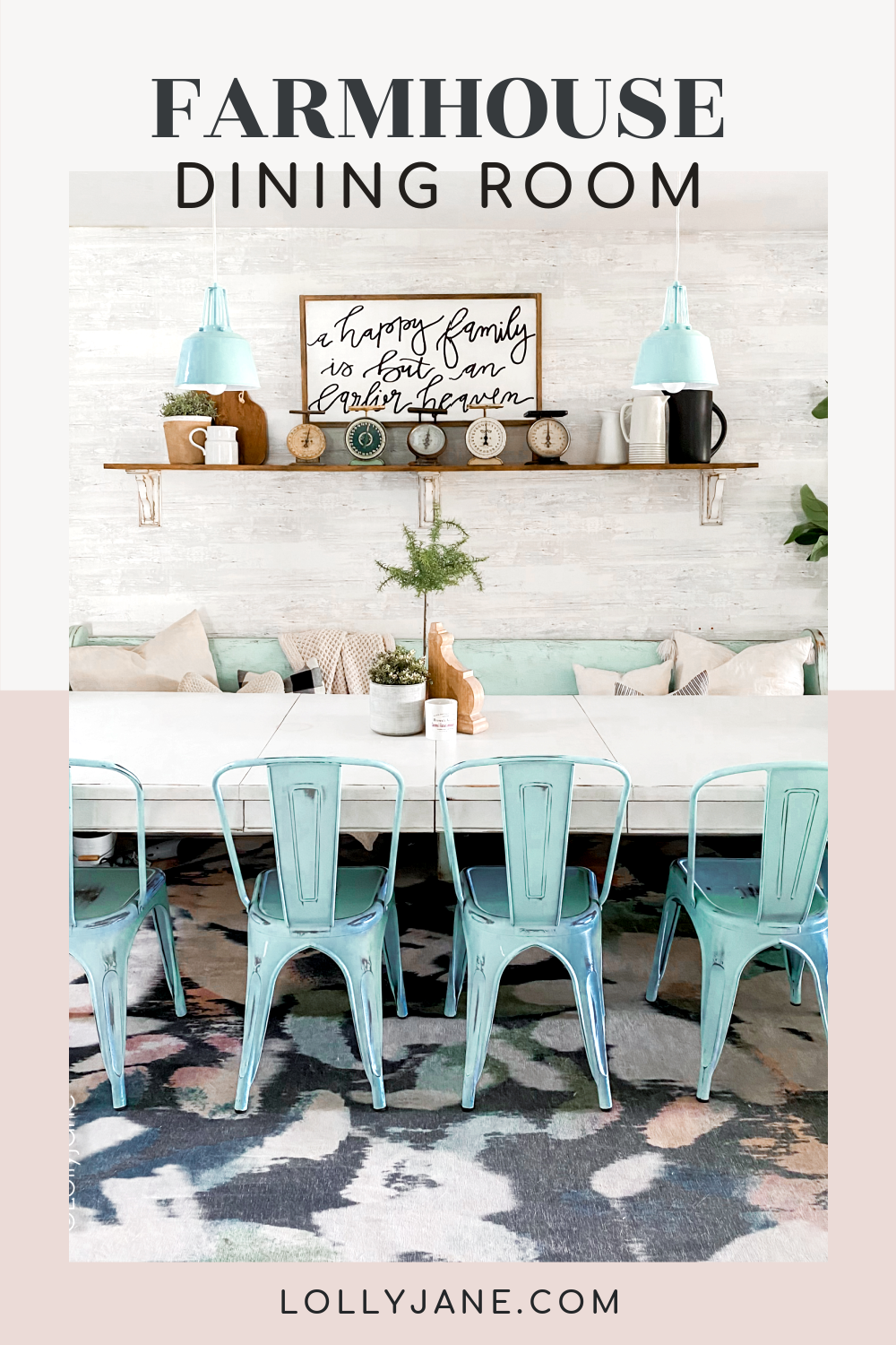 Farmhouse style dining room... love the splash of blue! DIY Wallpaper + Painted table + DIY shelves... making your own dining room farmhouse style doesn't need to break the bank! #diningroom #farmhouse #farmhousediningroom #farmhousedecor #wallpaper #diyshelves
