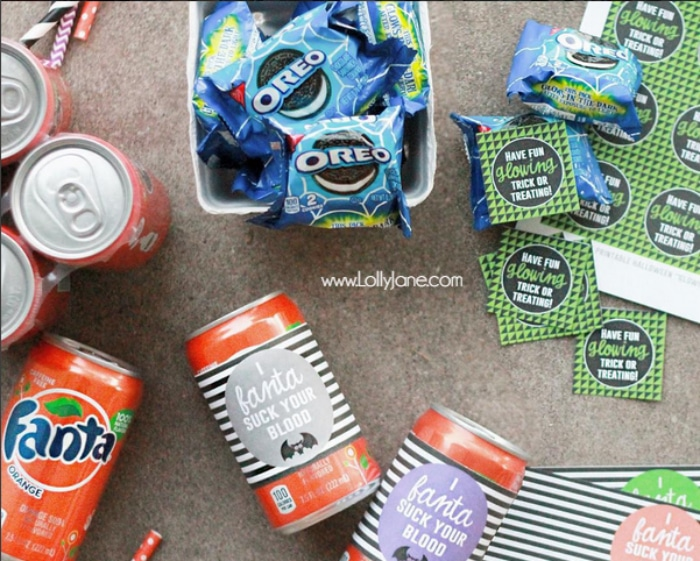 Cute FANTA suck your blood + Have fun GLOWING trick or treating free Halloween printables! | via LollyJane.com