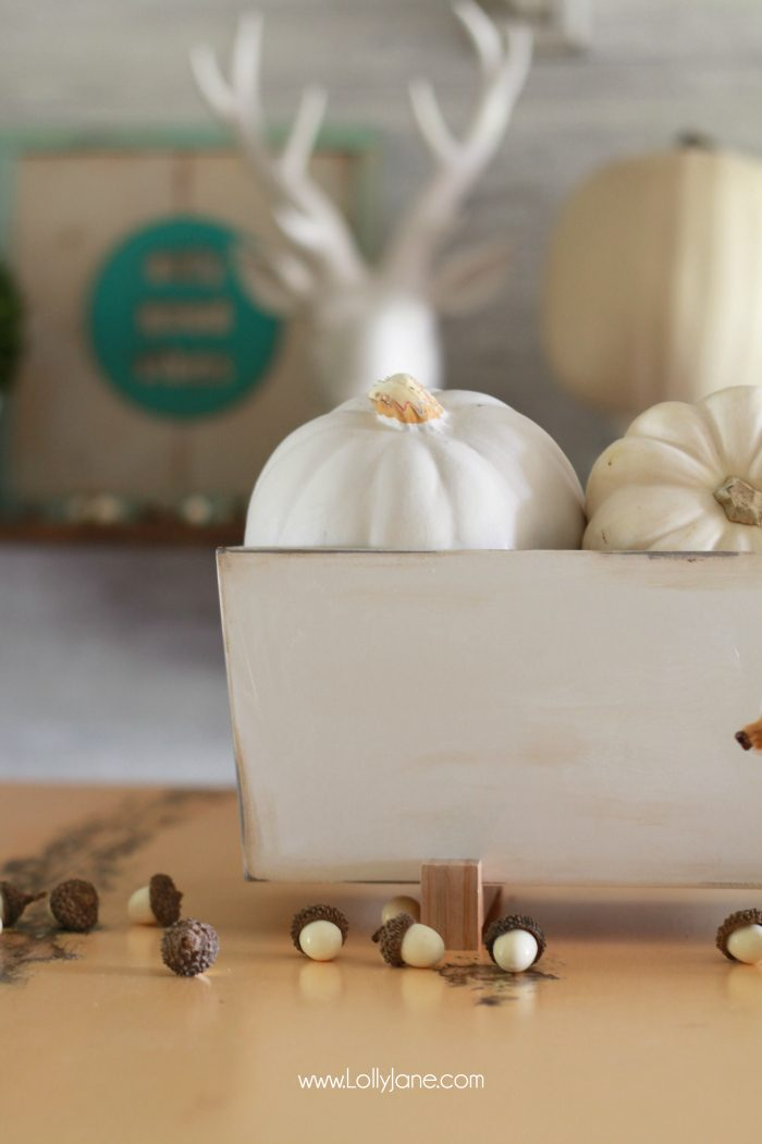 Easy Fall Tablescape idea! Pile neutural pumpkins into a cheap IKEA planter and enjoy!