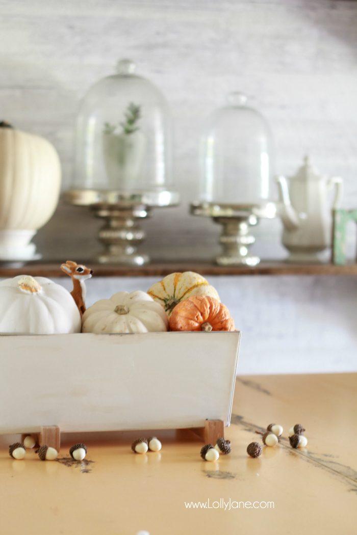 Easy Fall Tablescape idea! Pile neutural pumpkins into a cheap IKEA planter and enjoy!
