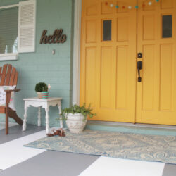 painted striped concrete flooring