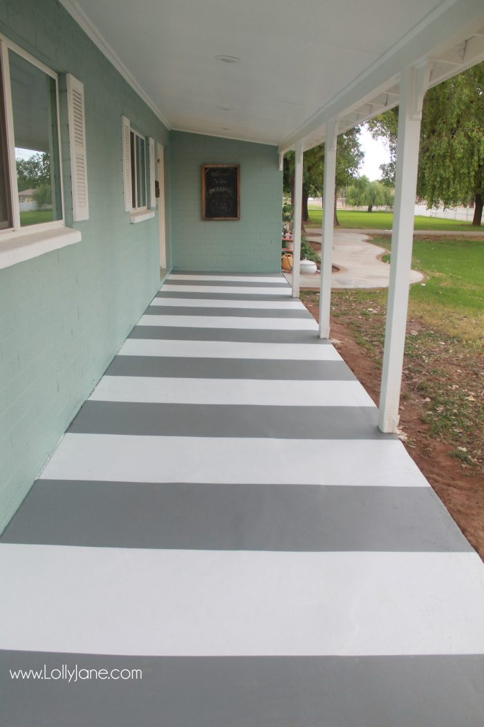 Painted striped concrete flooring for Porch floor paint ideas