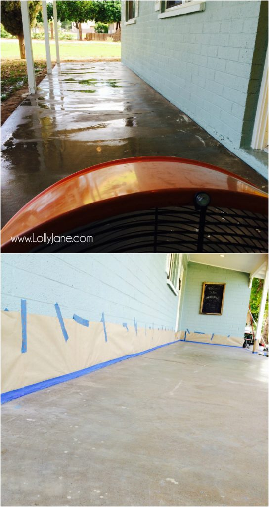 Painted striped concrete flooring for How to degrease concrete floor