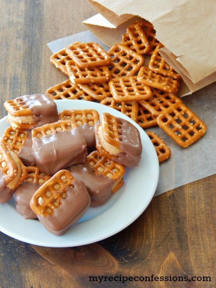 Easy buckeye pretzels recipe. Yummy fall recipe idea. Quick dessert idea!