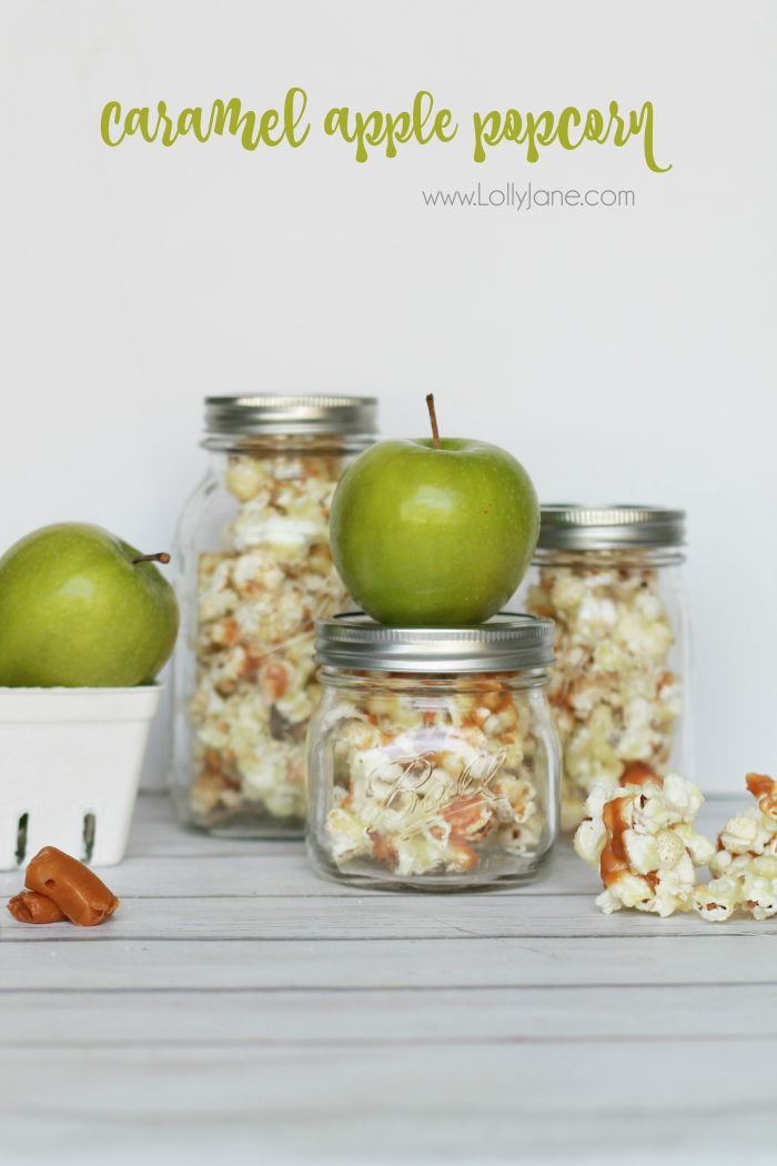 Easy caramel apple popcorn recipe. Great neighbor gift idea! Love this caramel apple popcorn in a jar gift idea! Yummy candied caramel popcorn recipe, great holiday gift idea too!