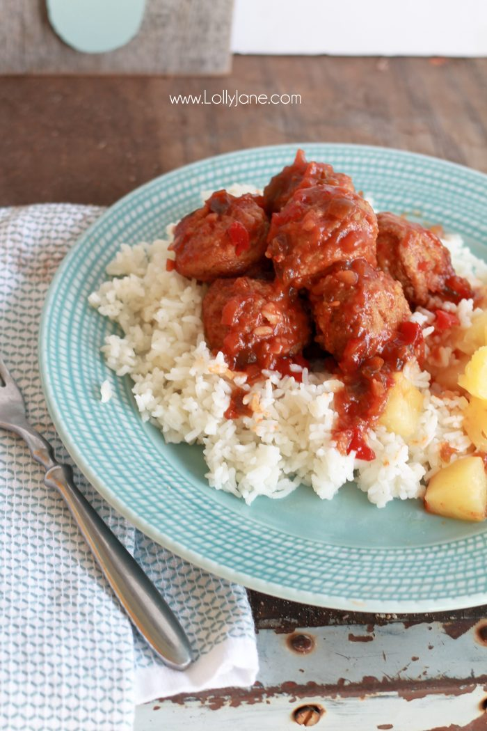 Easy Hawaiian Meatballs... just toss ingredients in the crockpot then pile over rice and pineapple. So good!