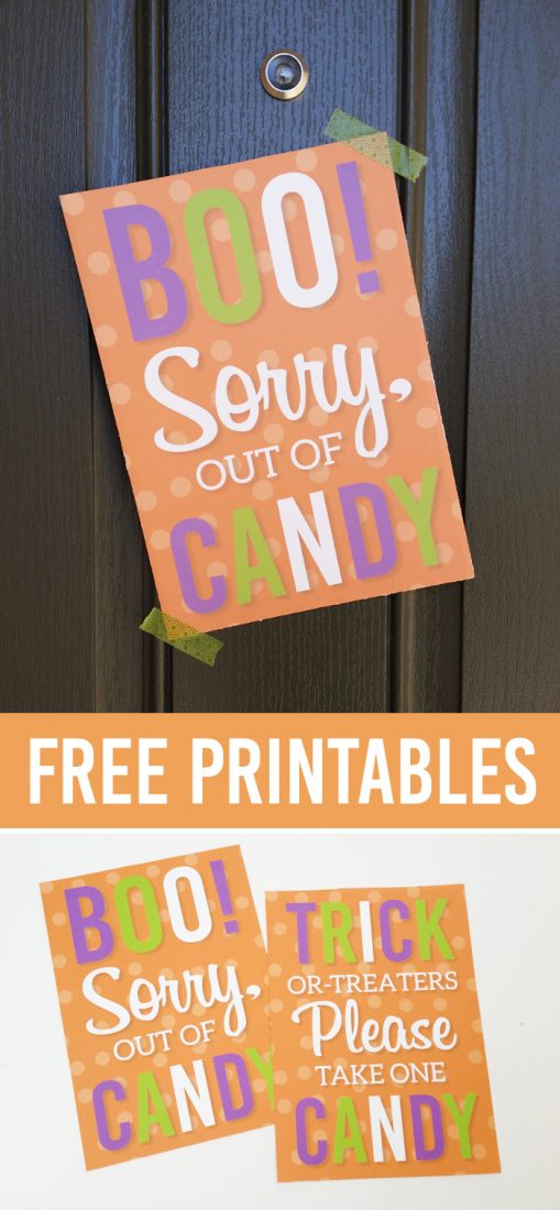 FREE Trick or Treat Printables, perfect to leave on your porch with a bowl of candy OR to tell trick-or-treaters you're out of candy! Just print and hang! |via Paperellia