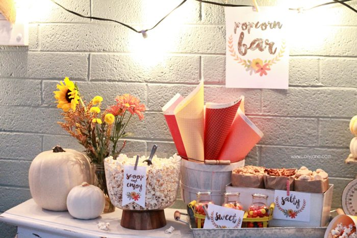 Easy Fall Popcorn Bar |includes FREE printable tags!