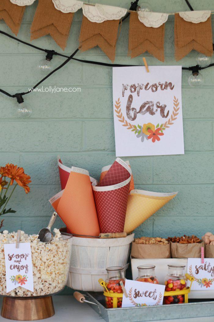 Easy fall popcorn bar, so yummy! Pretty popcorn bar printables, free prints and tags! Love these fall popcorn bar ideas!