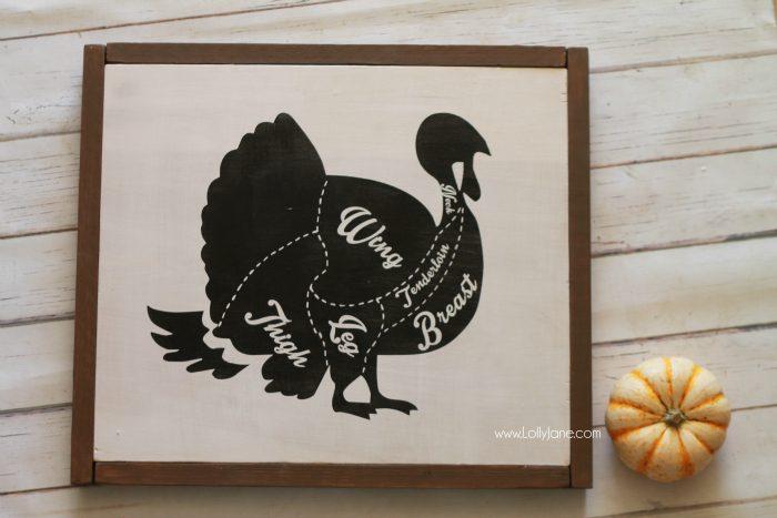 DIY turkey chart diagram sign. Cute kitchen decor! Fun and easy Thanksgiving sign, cute Thanksgiving home decor! Love this turkey decor!