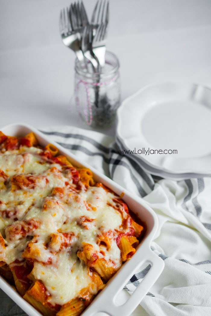 Hearty baked rigatoni recipe, so good! Easy dinner idea, great family recipe! You'll love this cheesy mix of noodles and cheese!