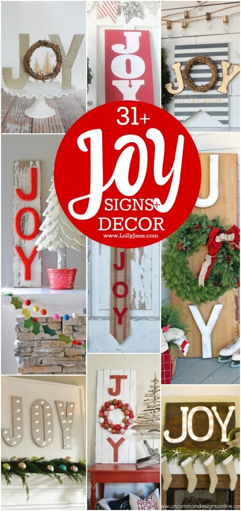 31+ JOY signs and decor ideas. Great ways to use JOY this Christmas season. DIY joy signs, so cute! Easy DIY Christmas decor ideas!