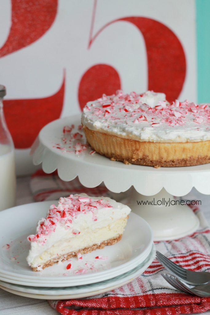 Delicious peppermint cheesecake recipe! This peppermint cheesecake topping has just the right hint of peppermint but isn't overwhelming. Homemade peppermint whipped topping, so good!