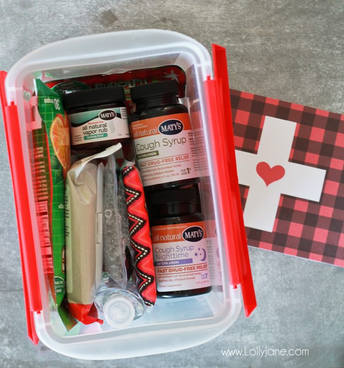 """""""Sick Kit"""" Ideas + FREE Printable Tag... perfect to give to a friend for cold & flu season!"""