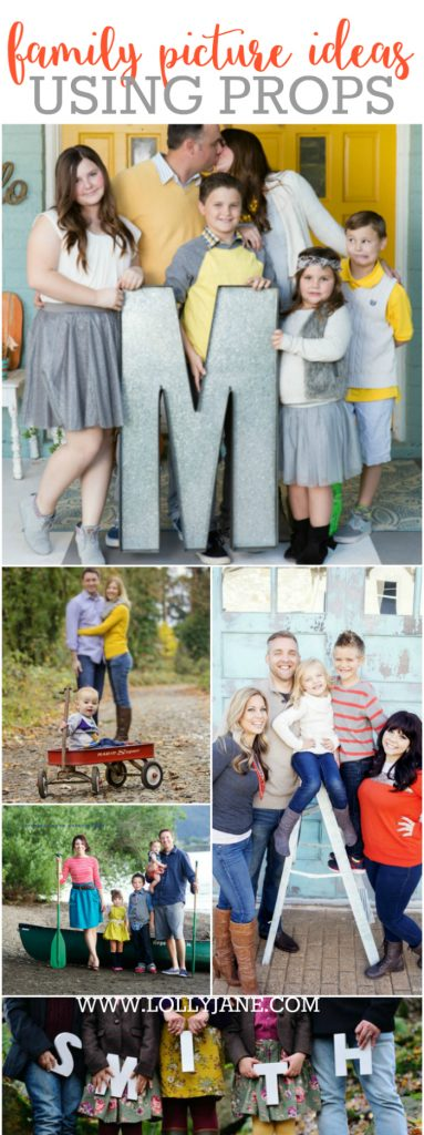 31 family picture ideas using PROPS! Check out all these fun family picture ideas!! The props are a great way to define your family's style! LOTS of ideas using ladders, boats, cars, blankets, etc!! | www.LollyJane.com