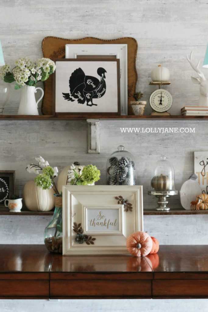 Thanksgiving dining room decorations lolly jane for Dining room shelf decorating ideas