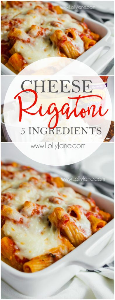 Hearty baked easy cheese rigatoni recipe, so good! Easy dinner idea, great family recipe! You'll love this cheesy mix of noodles and cheese!